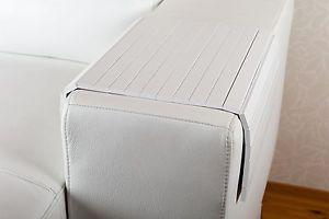 Sofatablett Hocker Sofa Couch Armlehne Ablage Tablett Weiss Und