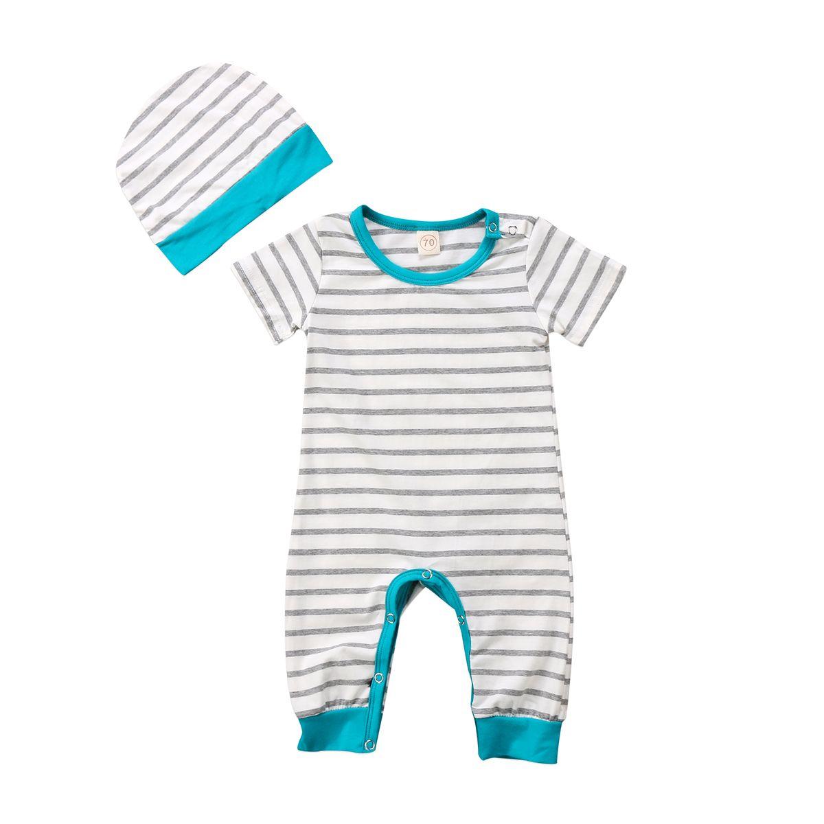 d8c632a6f Newborn Baby Boys Girls Romper Short Sleeve Striped Jumpsuit (0-18 ...