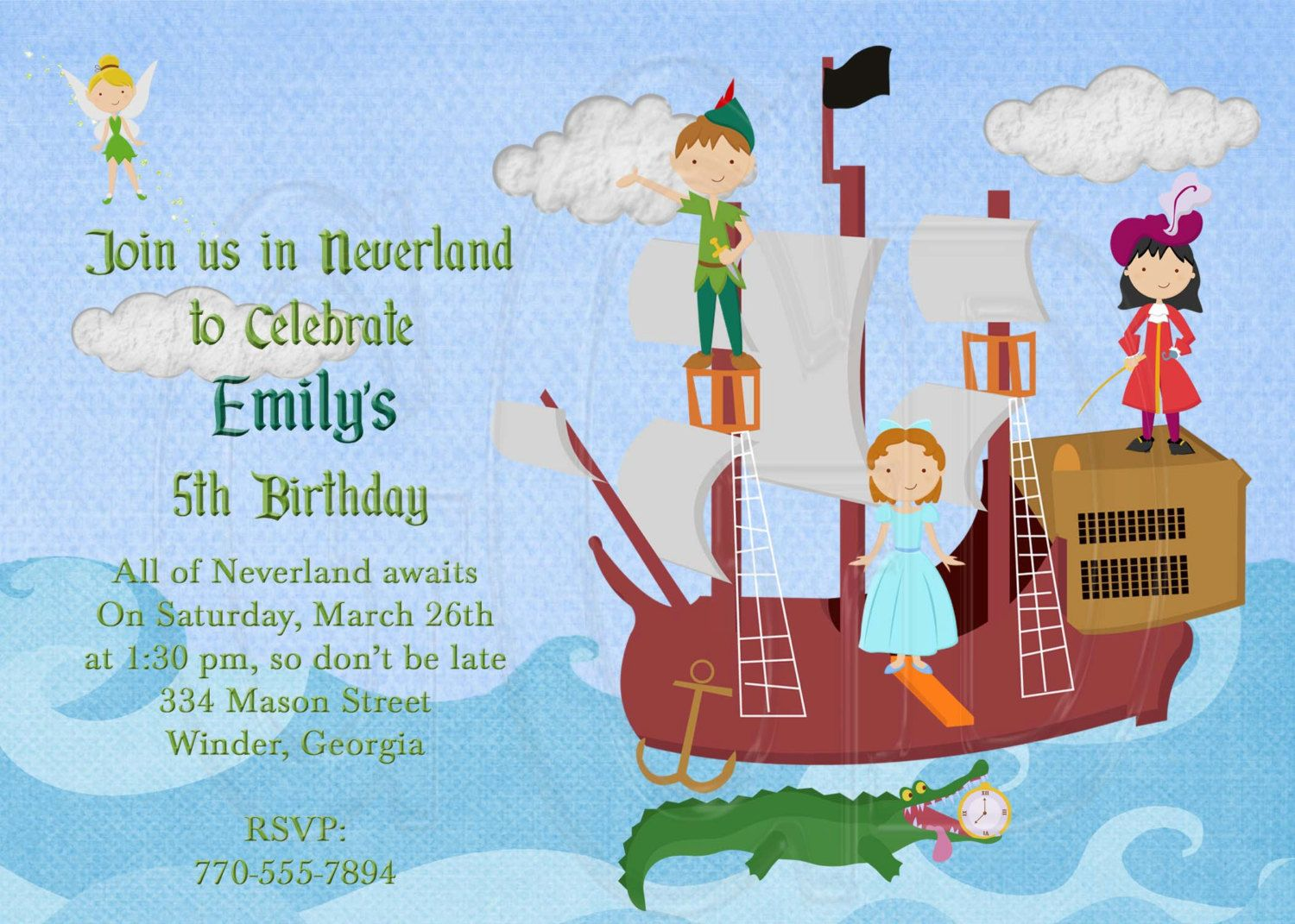 Free Template Peter Pan Birthday Party Invitations