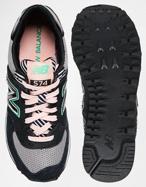 new balance 574 black suede/mesh trainers