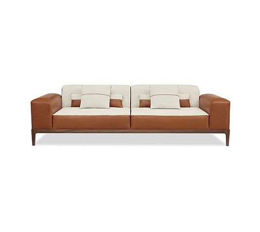 Hermes 2 Seater Sofa With Leather Armrests In Cetto Walnut Upholstered And Fabric Fawn Cinnamon Bag On The Right Armrest