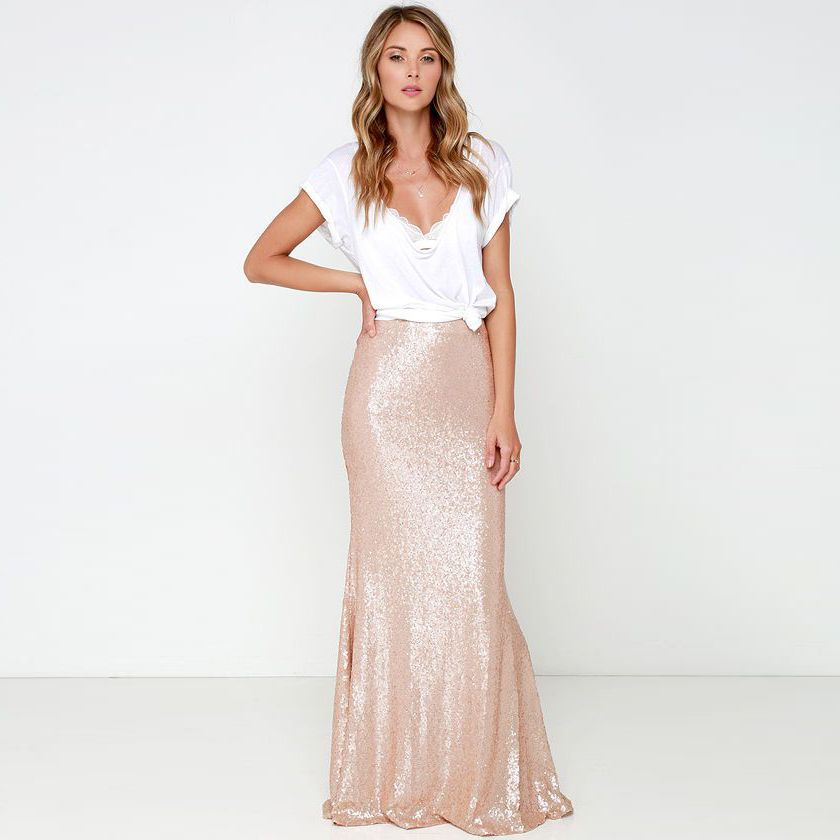 5dccd651c0 High Fashion Shiny Sequin Skirts Custom Made Mermaid Long Skirt Women Maxi  Skirt -in Skirts from Women s Clothing   Accessories on Aliexpress.com