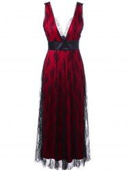 Voile Layered Lace Up Plunge Long Evening Dress