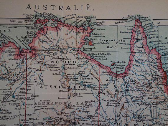 australia old map of australia 1905 antique dutch print poster