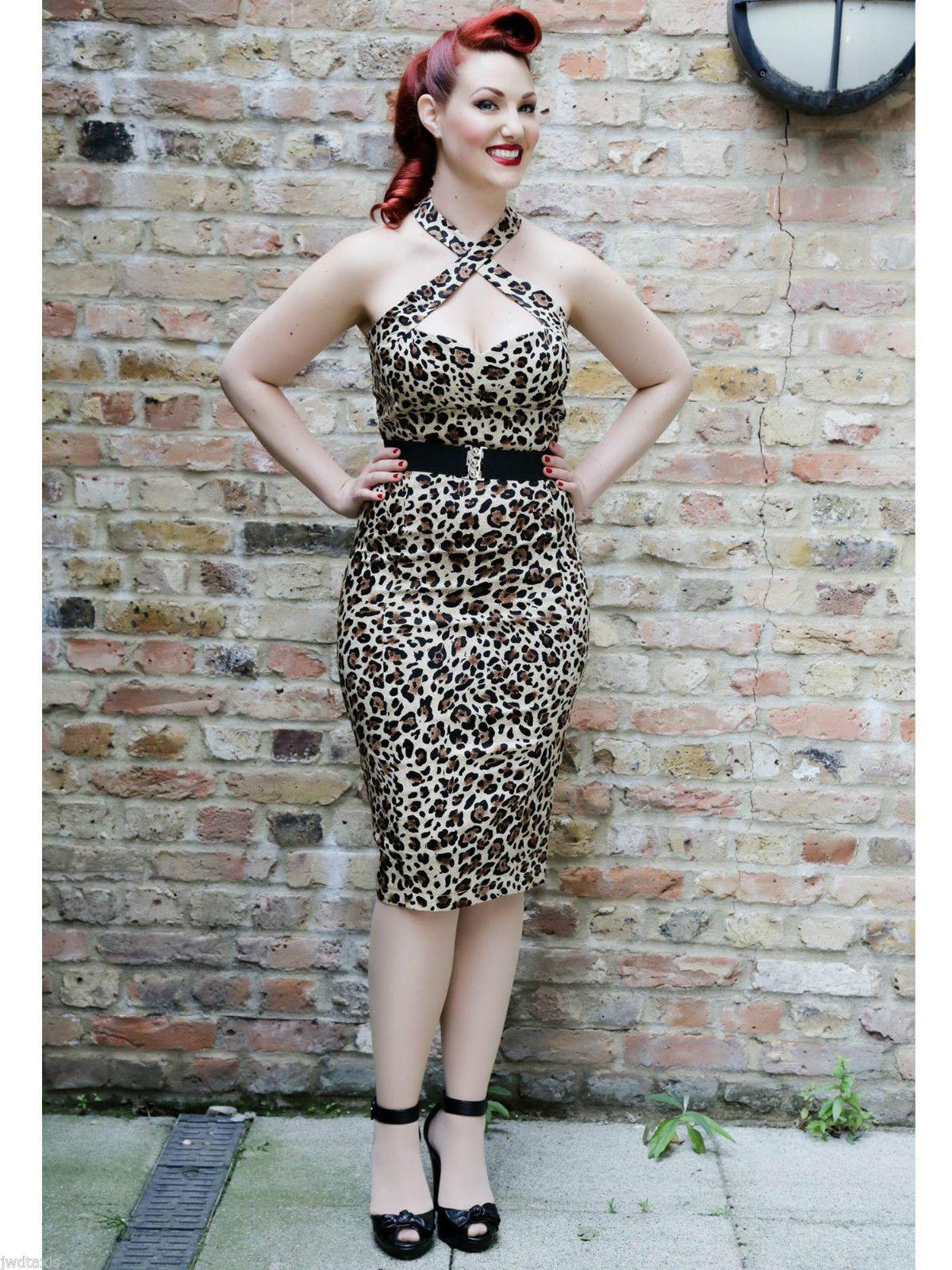 b8b77cd0b30 Collectif Penny Leopard 50s Pin Up Rockabilly Pencil Dress 10 12 14 16 18  20 22