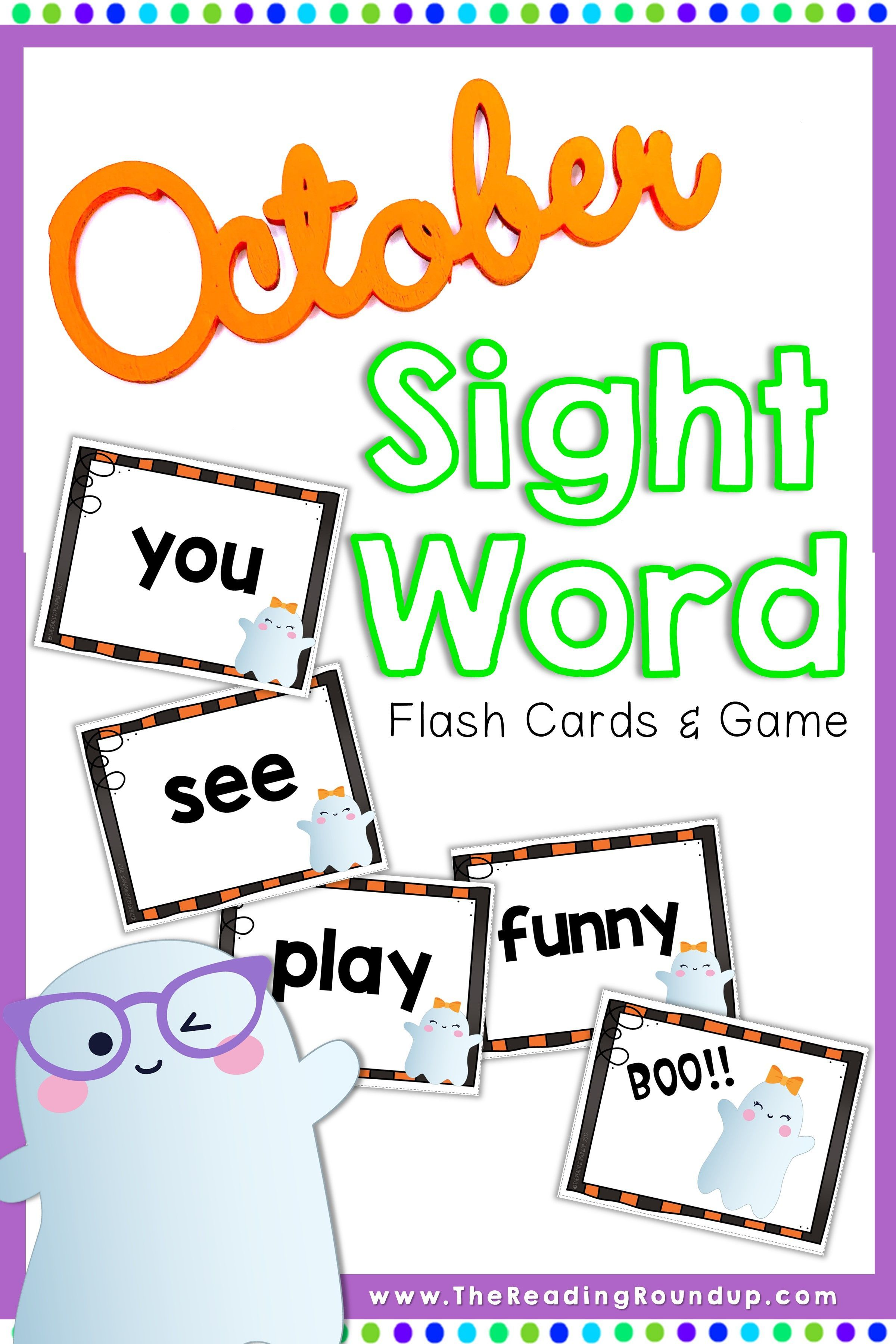 Halloween Sight Word Game and Flash Cards October