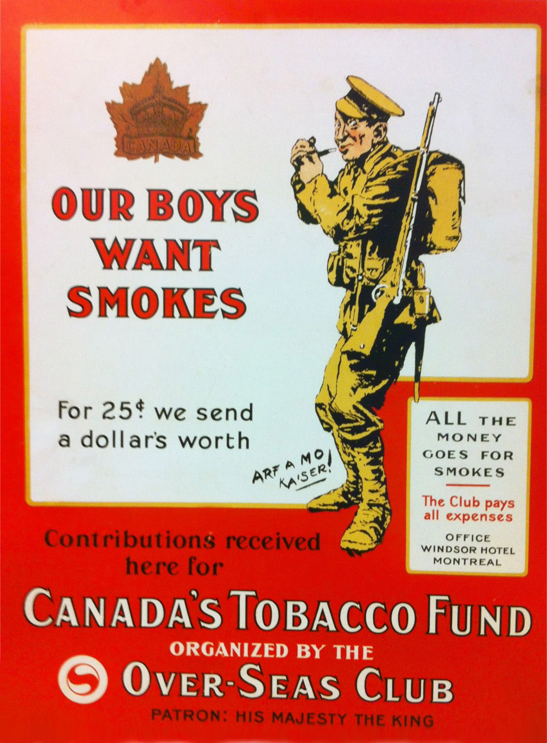 Canadas Tobacco Fund 1918 World War 1 Our Boys Want