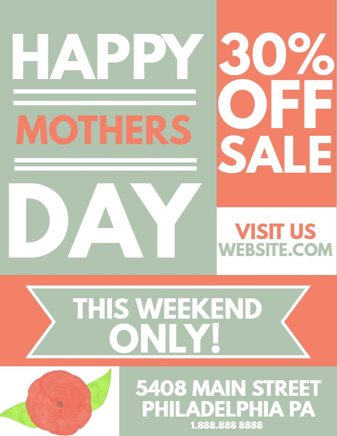 MotherS Day Sale Flyer Design Click To Customize  MotherS Day