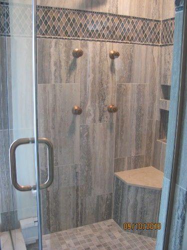 pewter travertine shower elegant interior designs pinterest