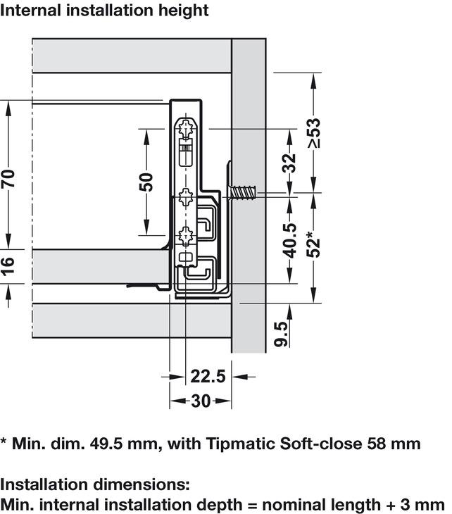 Drawer Set 90 mm Haut Nova Pro Scala L DE CHARGEMENT 400 mm capacité portante 40 kg