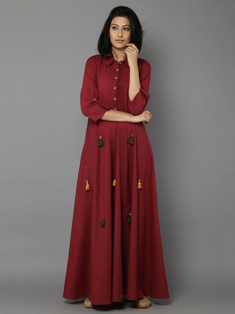 Maroon cotton long dress the loom ethnic wear pinterest cotton