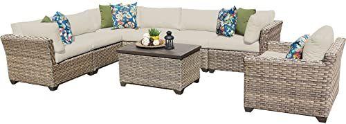 New TK Classics Monterey 8 Piece Outdoor Wicker Patio Furniture Set 08b, Beige online - Toocutefashion