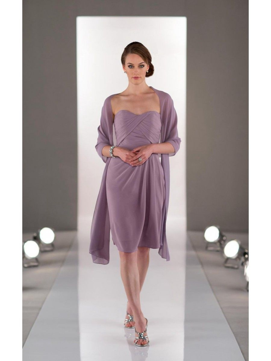 Short Strapless Beaded Chiffon Wedding Party Bridesmaid Dresses with ...