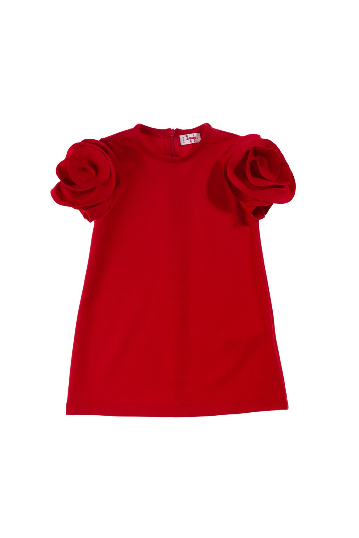 Il Gufo vibrant red girls dress rose sleeves