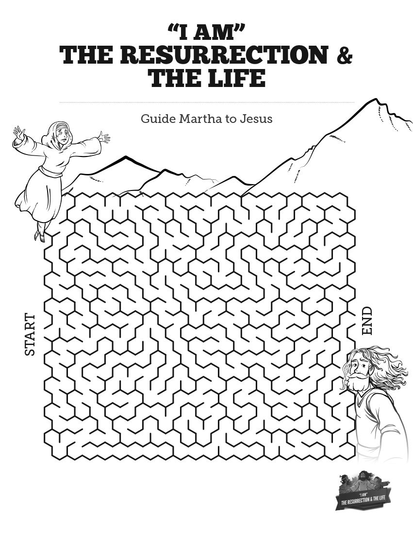 John 11 I Am The Resurrection And The Life Bible Mazes Sunday