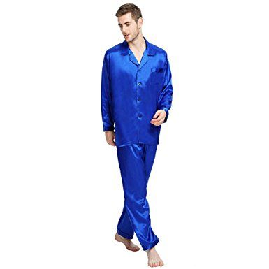 Lonxu Mens Silk Satin Pajamas Set Sleepwear Loungewear S~4XL Plus Review 845d08832