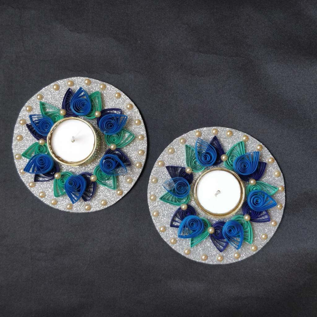 Handmade Quilling Tealight Candle Holders In