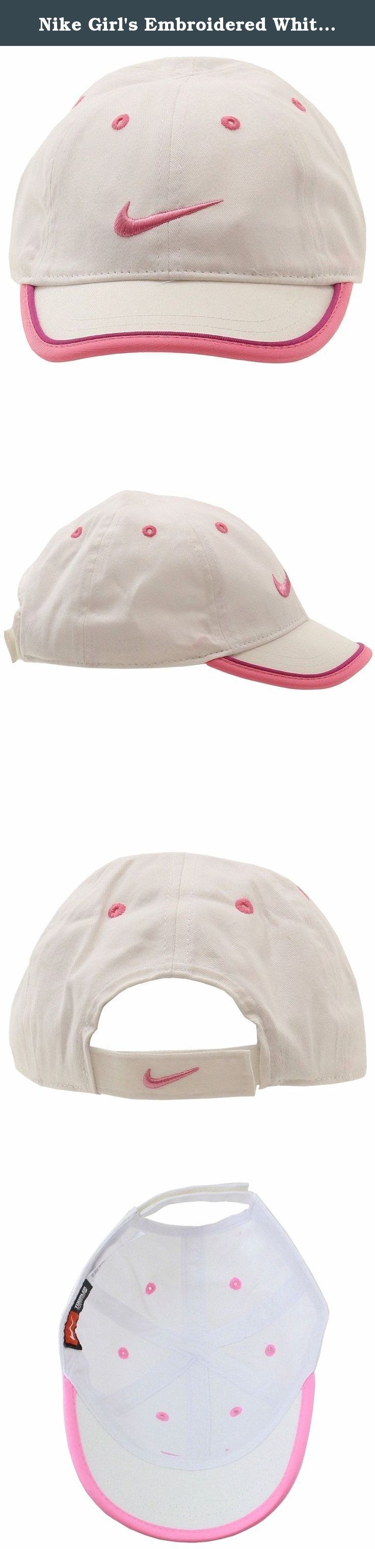 b5291c7d055 Nike Girl s Embroidered White Swoosh Logo Adjustable Hat Baseball Cap Sz  4  6X.