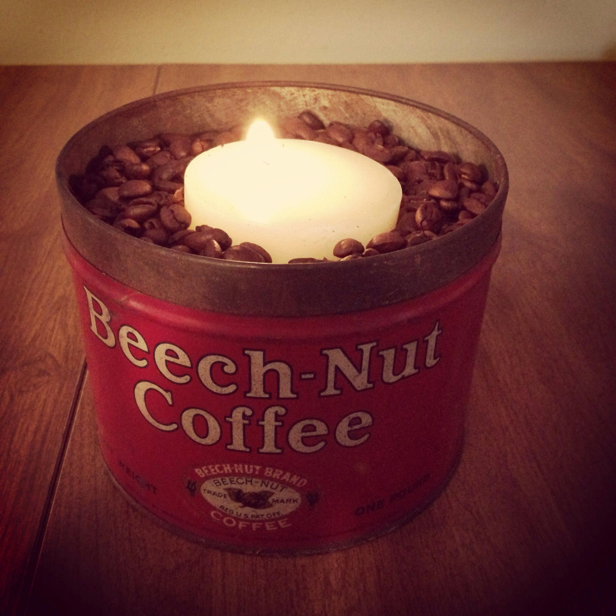 DIY coffee bean candle in vintage coffee tin! Perfect for a coffee themed kitchen or for someone ...