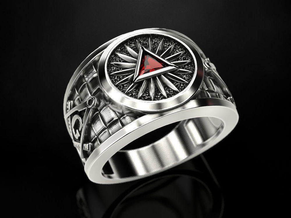All Seeing Eye Freemason Signet Ring Silver 925 Symbol G Templar