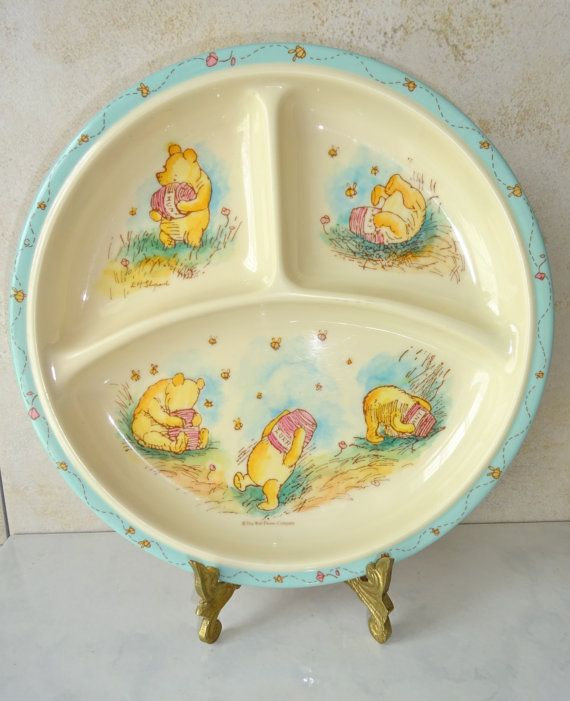 Vintage Winnie The Pooh Plate Round Divided Child\u0027s Plate Disney Melamine Selandia Designs & Vintage Winnie The Pooh Plate Round Divided Child\u0027s Plate Disney ...