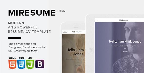 Miresume - Resume, CV, Portfolio Template Pinterest Resume cv
