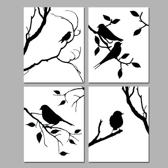 Birds of a feather wall art quad set of four coordinating nature prints choose your colors shown in black and white