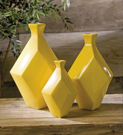 The Chantal Yellow Vases Incorporate A Geometric Shape And Canary