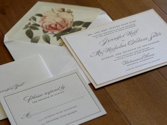 Vintage Floral Wedding Invitation - Letterpress Wedding Invitation - formal invitation style