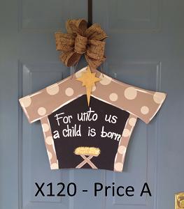 X120 - Christmas Manger Door Hanger - For Unto Us A Child Is Born Sign - Nativity Door Decor ...