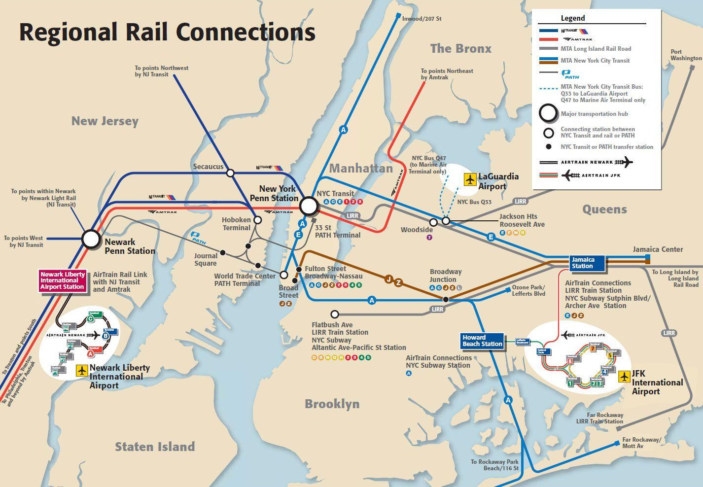 Nyc Nj Subway Map.Map Of Jfk Newark La Guardia Airports Transportation Nyc Trip