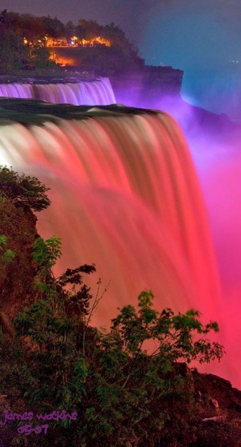 Colorful lighting at Niagara Falls • photo: James Watkins on Flickr