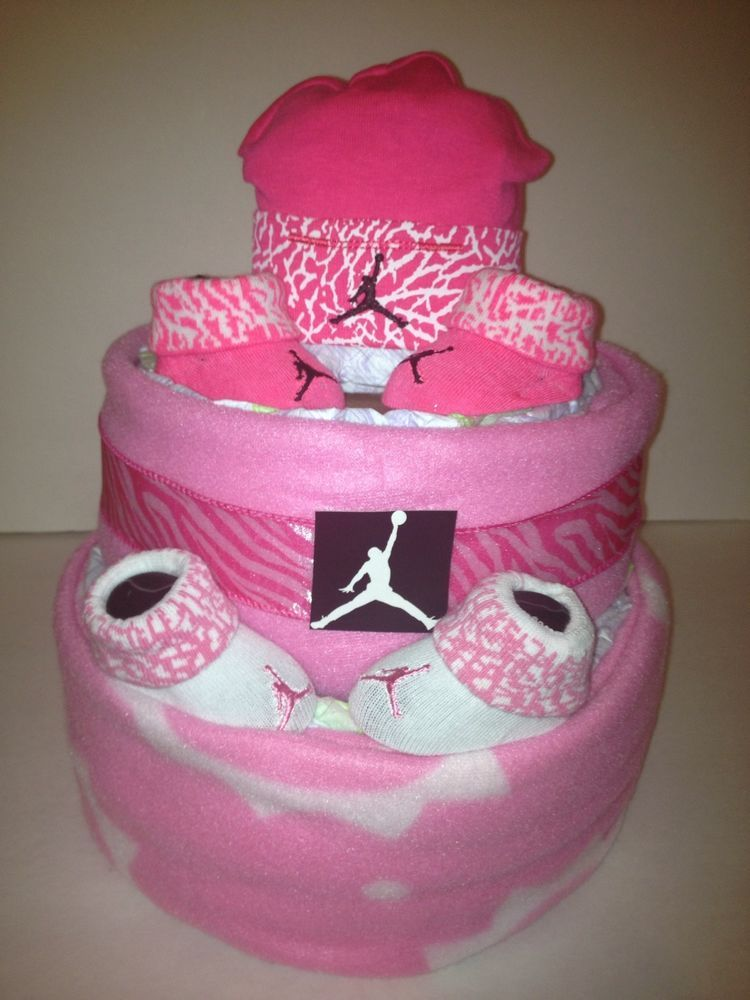 86a625c11503 ... New NIKE Baby diaper Cake Pink Zebra Print Awesome Baby Shower Gift ...