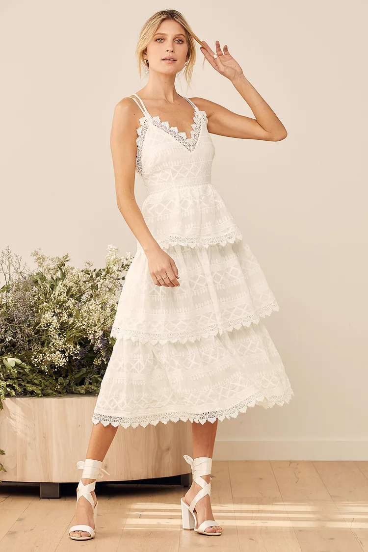 All Is Love White Embroidered Tiered Midi Dress In 2021 Embroidered Midi Dress Dresses Midi Dress [ 1125 x 750 Pixel ]