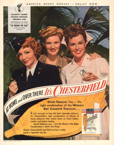 1943 Chesterfield Cigarettes print ad Claudette Colbert Paulette Goddard Veronica Lake movie tie-in