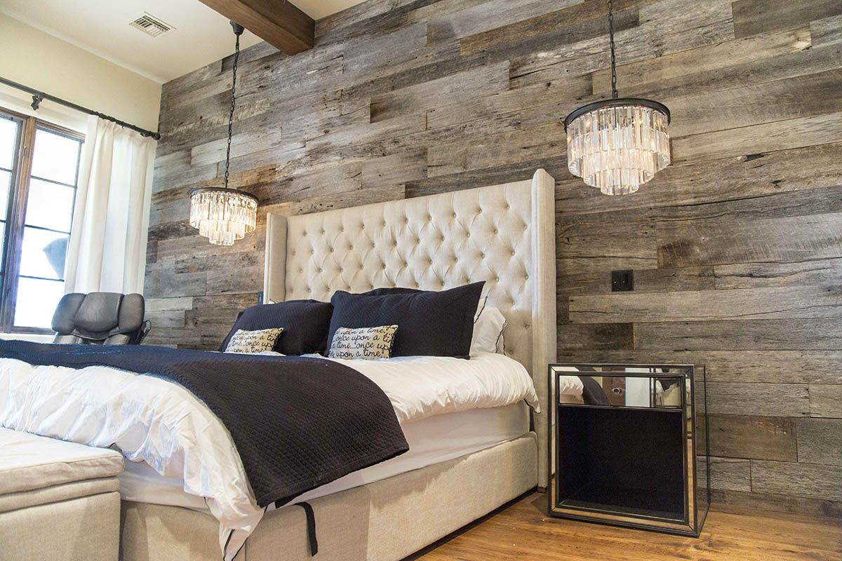 Master bedroom accent wall  Tobacco Barn Grey Wood Wall Covering  Master Bedroom  Wood walls