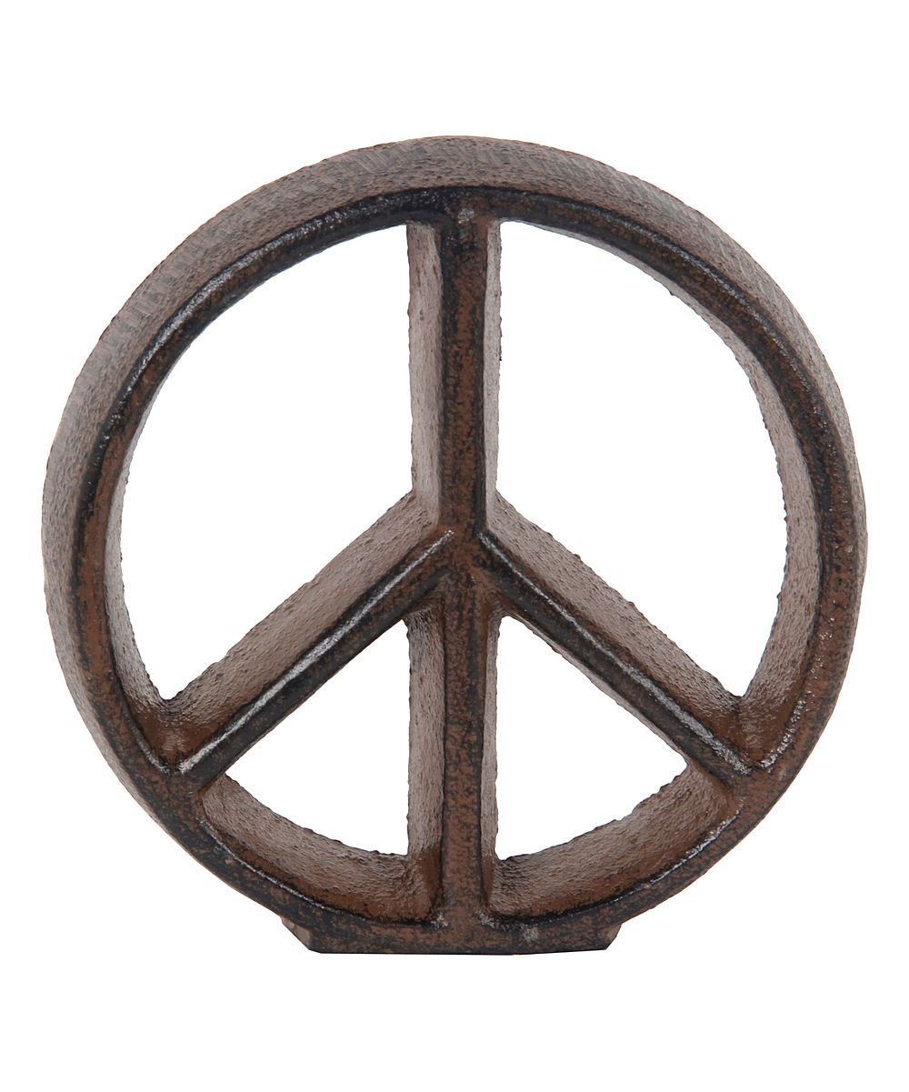 Rust Brown Peace Sign Statue