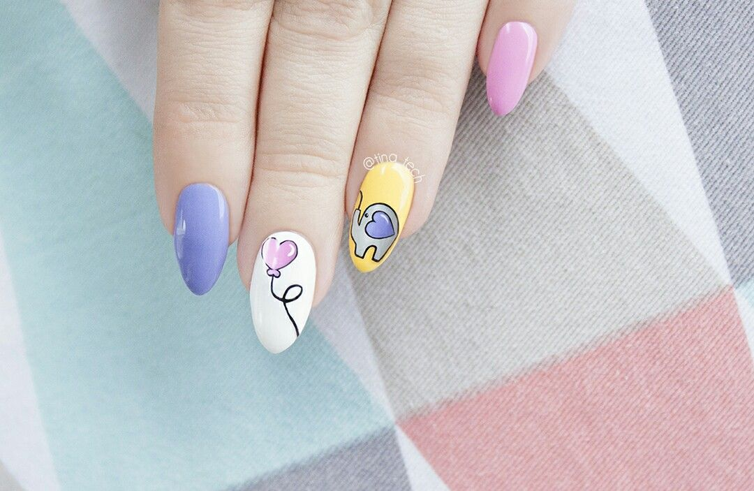 Cute elephant nail art by tina_tech