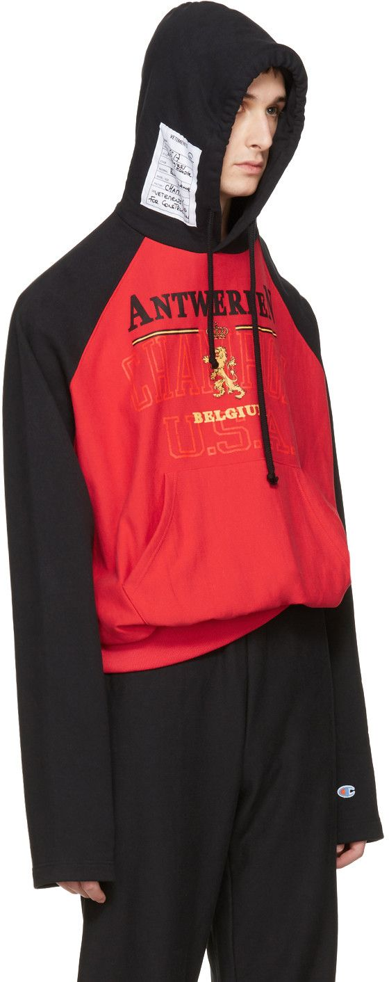 552cc5aadc Vetements - Red   Black Champion Edition Antwerpen Hoodie ...
