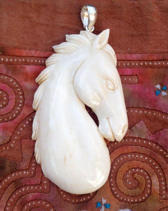 Large Carved Bone Horse Pendant By Aprilmelodys On Etsy Bone Carving Bone Crafts Wood Carving Designs