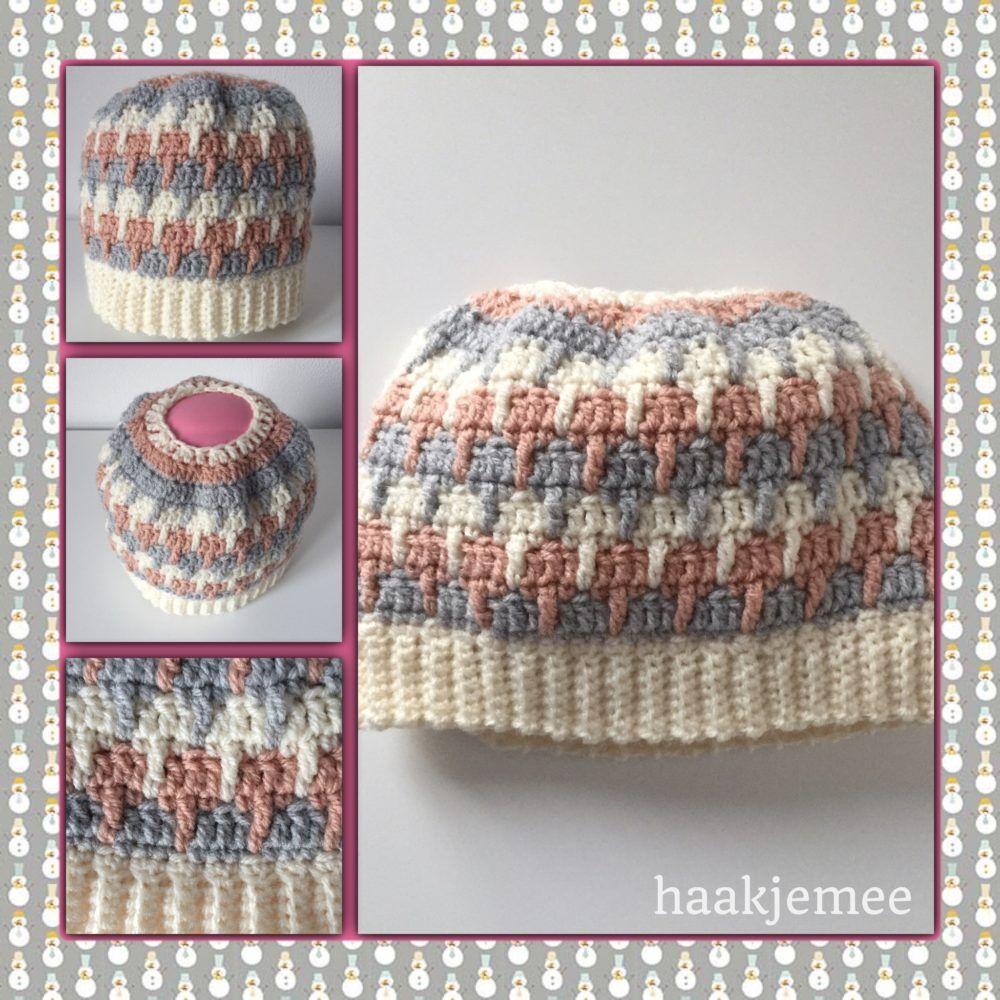 three-color messy bun beanie crochet pattern | Crochet - Hats ...