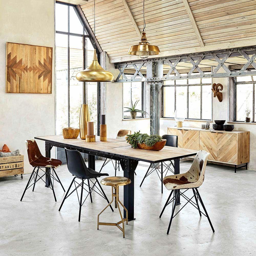 Table Salle A Manger Bois Metal Avec Rallonge: Table Industrielle : 14 Idées Déco Pour Associer Métal Et
