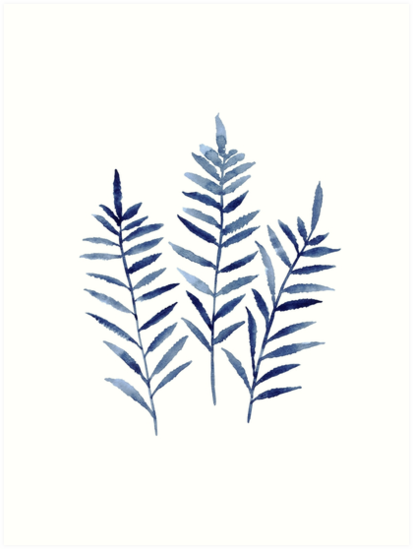 fern blue botanical watercolor painting image picture drawing art Plennum Refinery Fin Fan Replacement fern plant print navy blue botanical wall decor leaf watercolor painting gift idea also buy this artwork on wall prints apparel