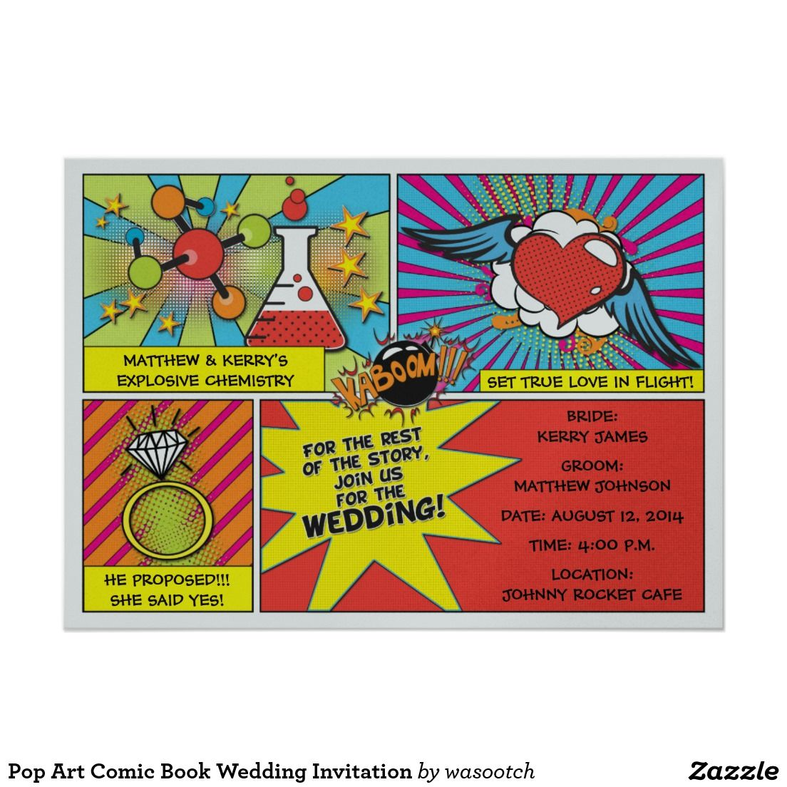 Pop Art Comic Book Wedding Invitation | Projects to complete ...