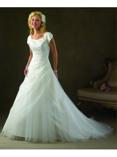 Tulle Empire Lace Covered Empire Bodice A-line Wedding Dress