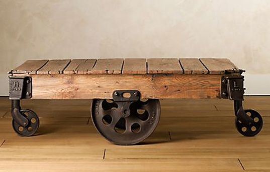 Love this restored vintage factory cart. It's used as a coffee table. - Reclaimed Factory Cart Table From Restoration Hardware