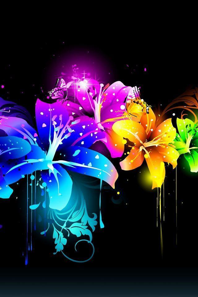 I Neon Fractal Art Color Collage Wallpaper Coolest neon flower wallpaper