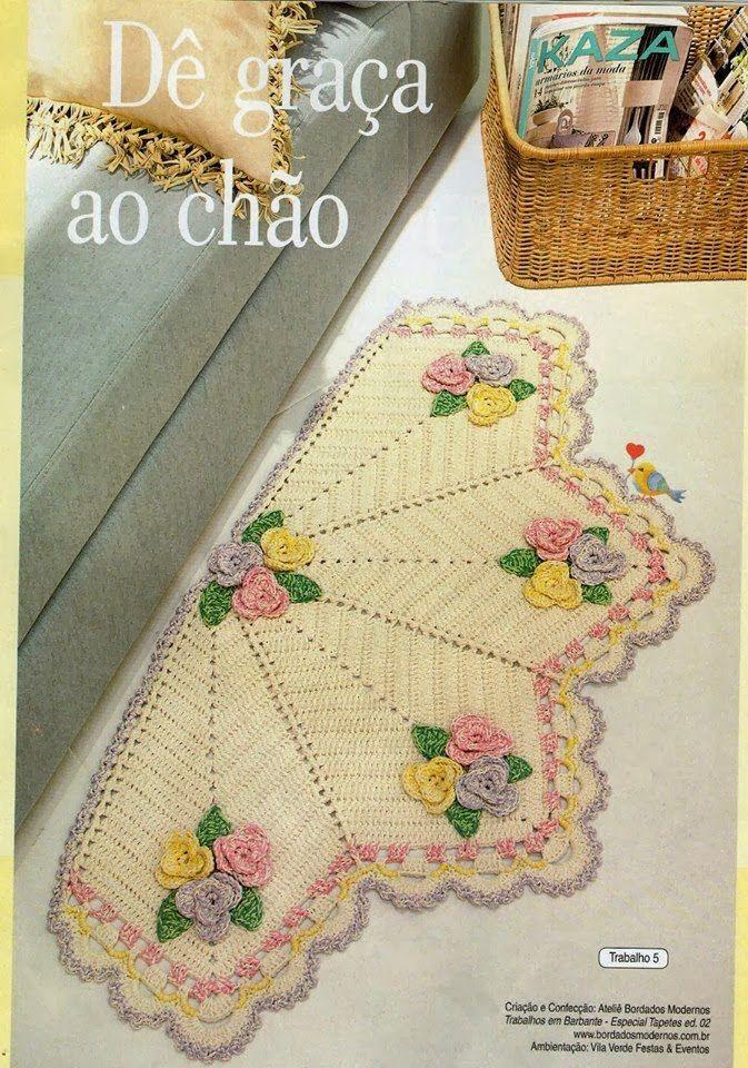 Ateli arte de bordar tapete meia lua roseta do for Tapetes de crochet