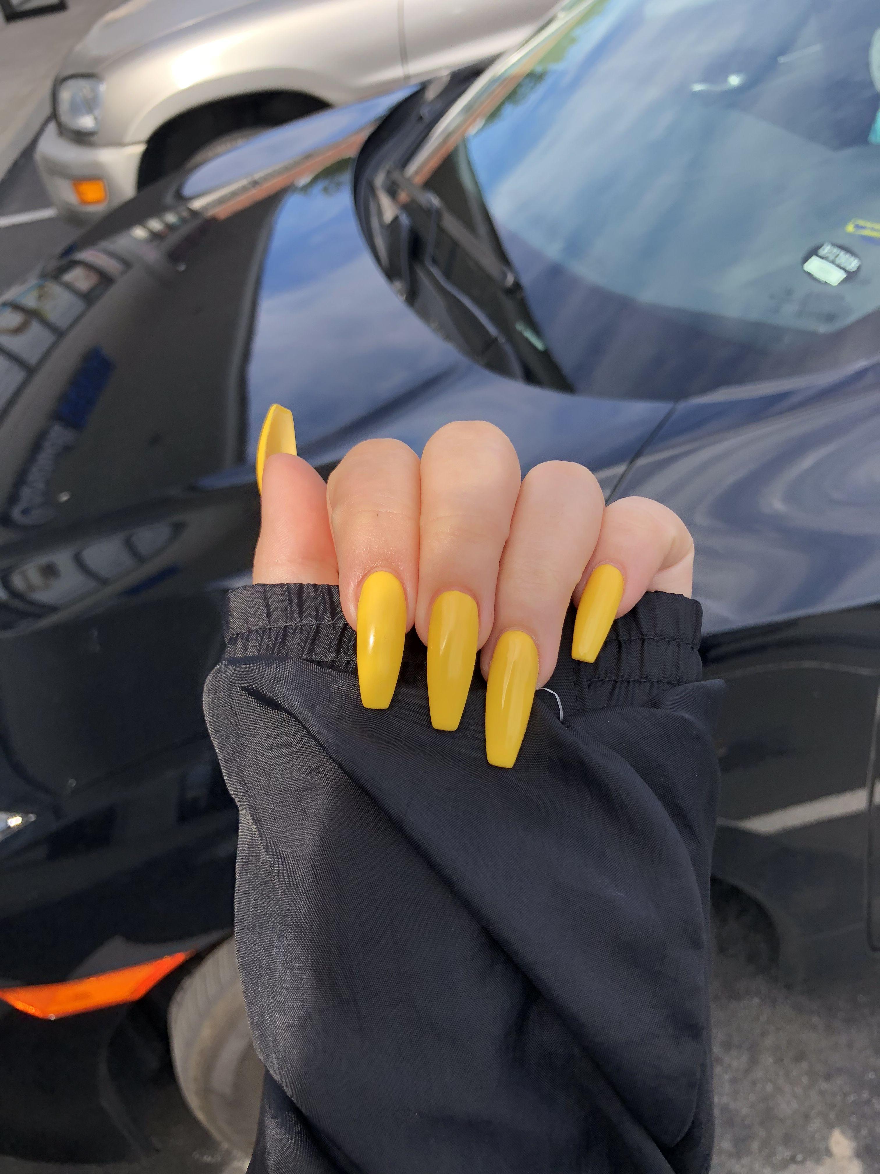 Gel #Long #Nails #Acrylics #YAS #Yellow #Coffin   Nails nails nails ...