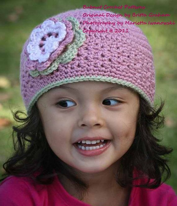 Girls Blossom Beanie Crochet Hat Pattern No202 Baby To Adult Sizes